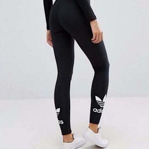 ADIDAS Originals Black Trefoil Logo Ankle Leggings